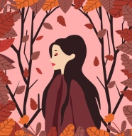 woman_portrait_drawing_leaves_decoration_light_red_design_6832252